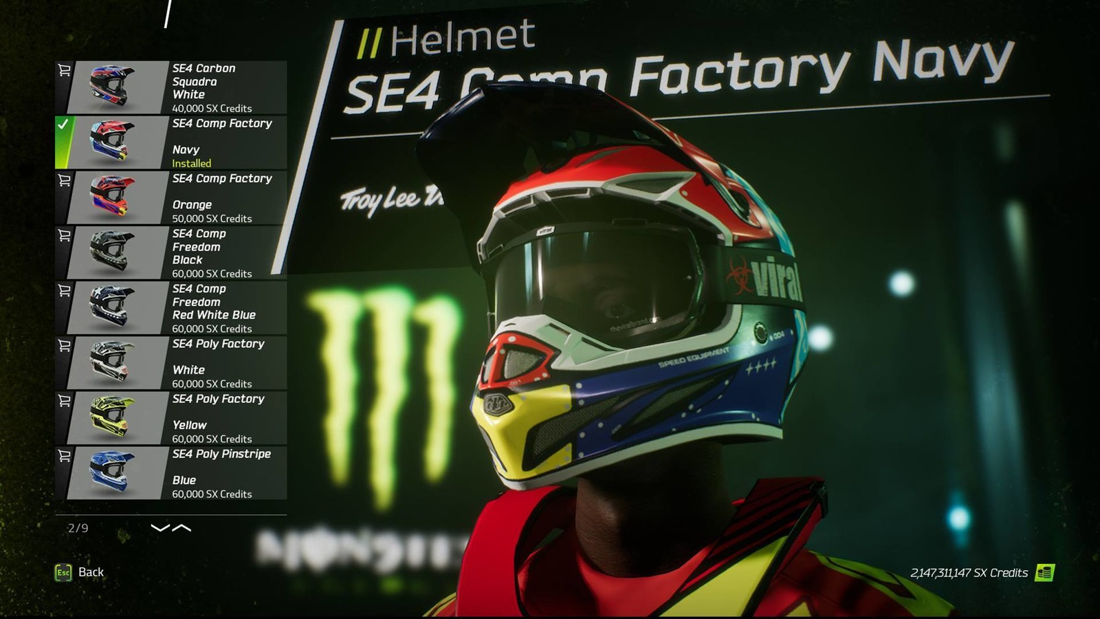 Like running different helmet colorways? Well, it looks like you'll be taken care of in this game. Here we see several different Troy Lee Designs SE4 helmet colorways. And I'm guessing each of the major helmet brands will get similar treatment. Also, notice the Atlas Brace and Viral Brand goggles? Those brands will be available in-game as well.