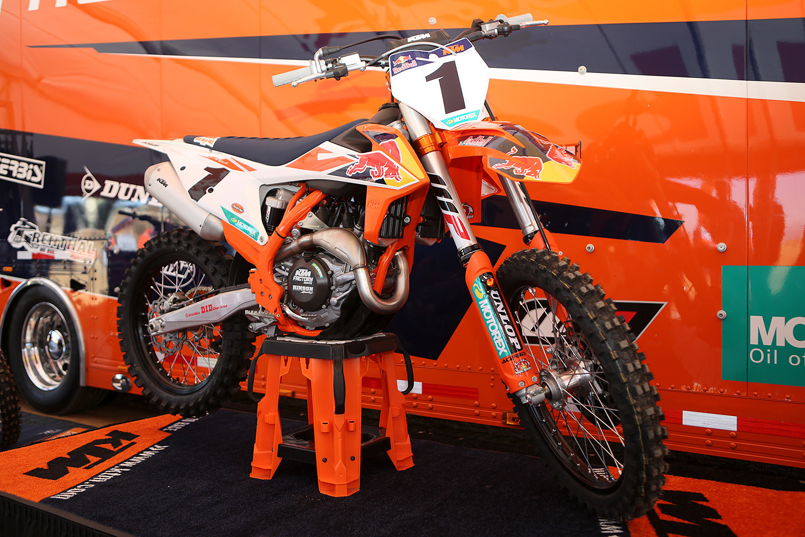 """The new 2018 KTM 450 SX-F Factory Edition. Besides the obious differences in plastic and the exhaust, you can check out more on it here. <a href=""""http://www.vitalmx.com/features/First-Look-2018-KTM-450-SX-F-Factory-Edition,5676"""" target=""""_blank"""">First Look: 2018 KTM 450 SX-F Factory Edition</a><br><a href=""""http://www.vitalmx.com/videos/features/Walk-Around-Tech-Brief-on-the-2018-KTM-450-SX-F-Factory-Edition,16340/ML512,13480"""" target=""""_blank"""">Tech Brief on the 2018 KTM 450 SX-F Factory Edition</a>"""