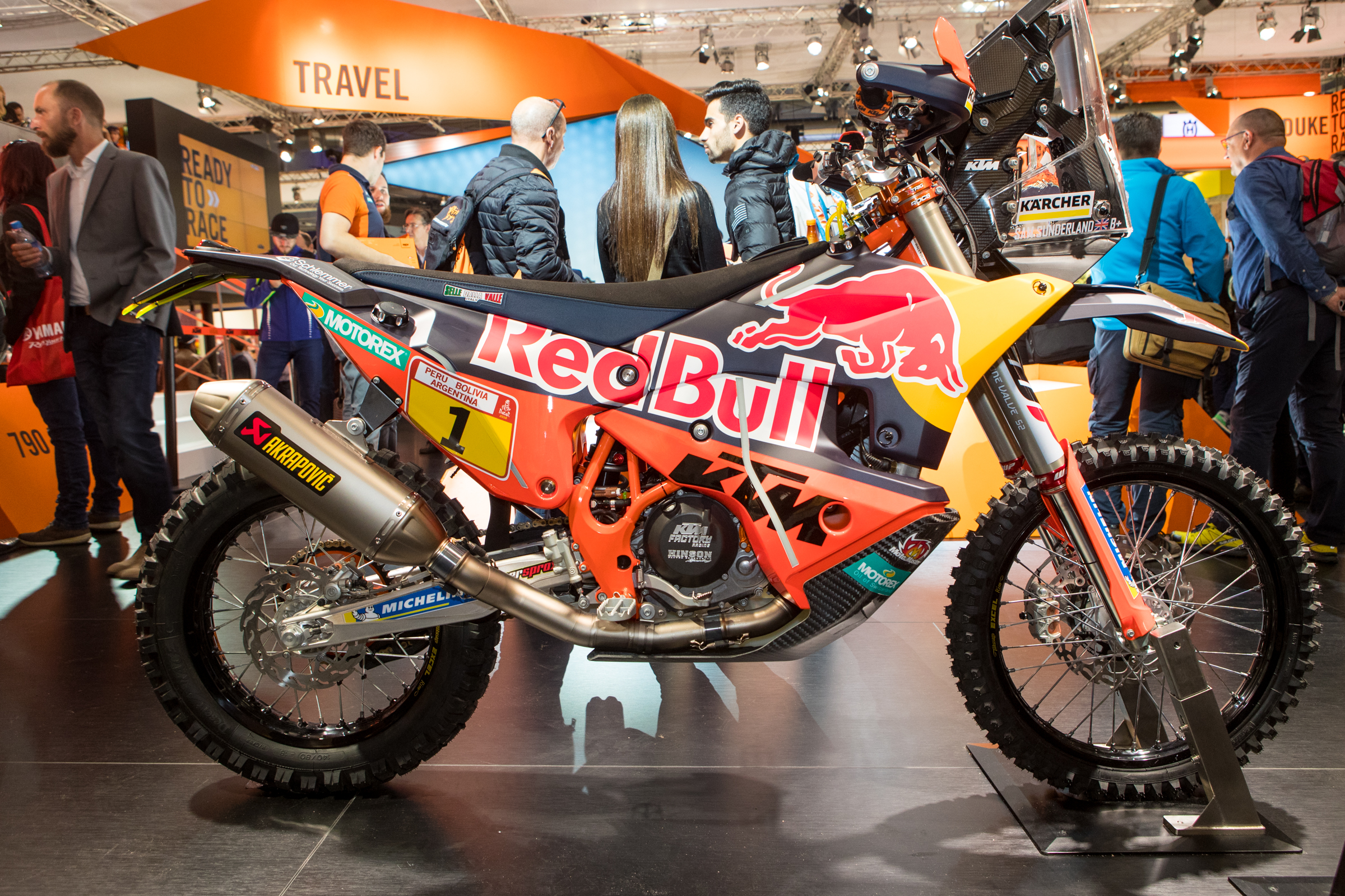 Speaking of Dakar, KTM showed off their latest 450 Rally machine which they just did a warm-up Rally on ahead of the Dakar this January. This machine takes the latest moto technology and a slew of one-off technology to make one heck of a machine.