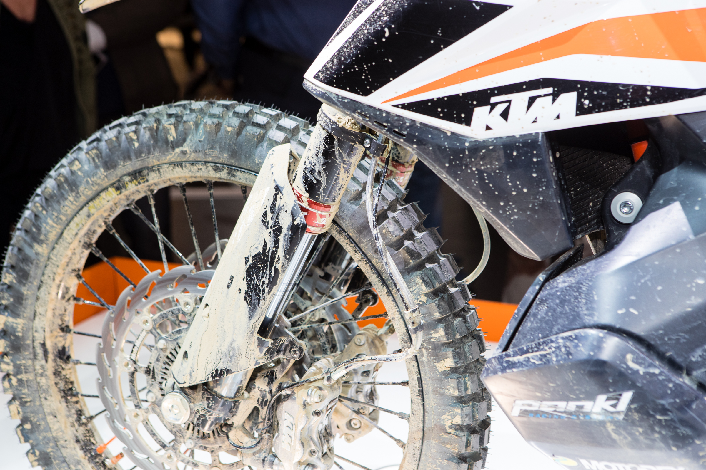High end components, such as WP Cone Valve 48 motocross forks are present and although it has dual calipers, the rotors look smaller and more manageable for dirt use.