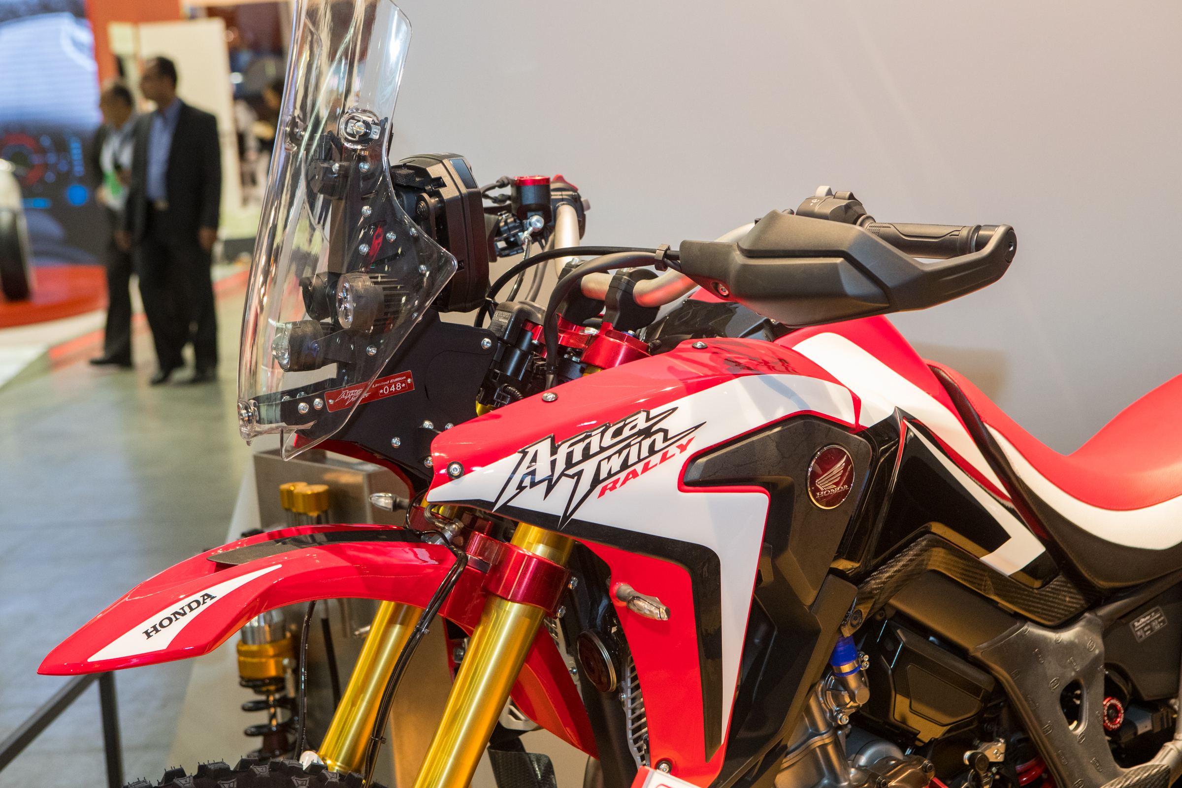This Africa Twin Rally features all new shrouds, a Dakar inspired windshield and info area, new forks and more.