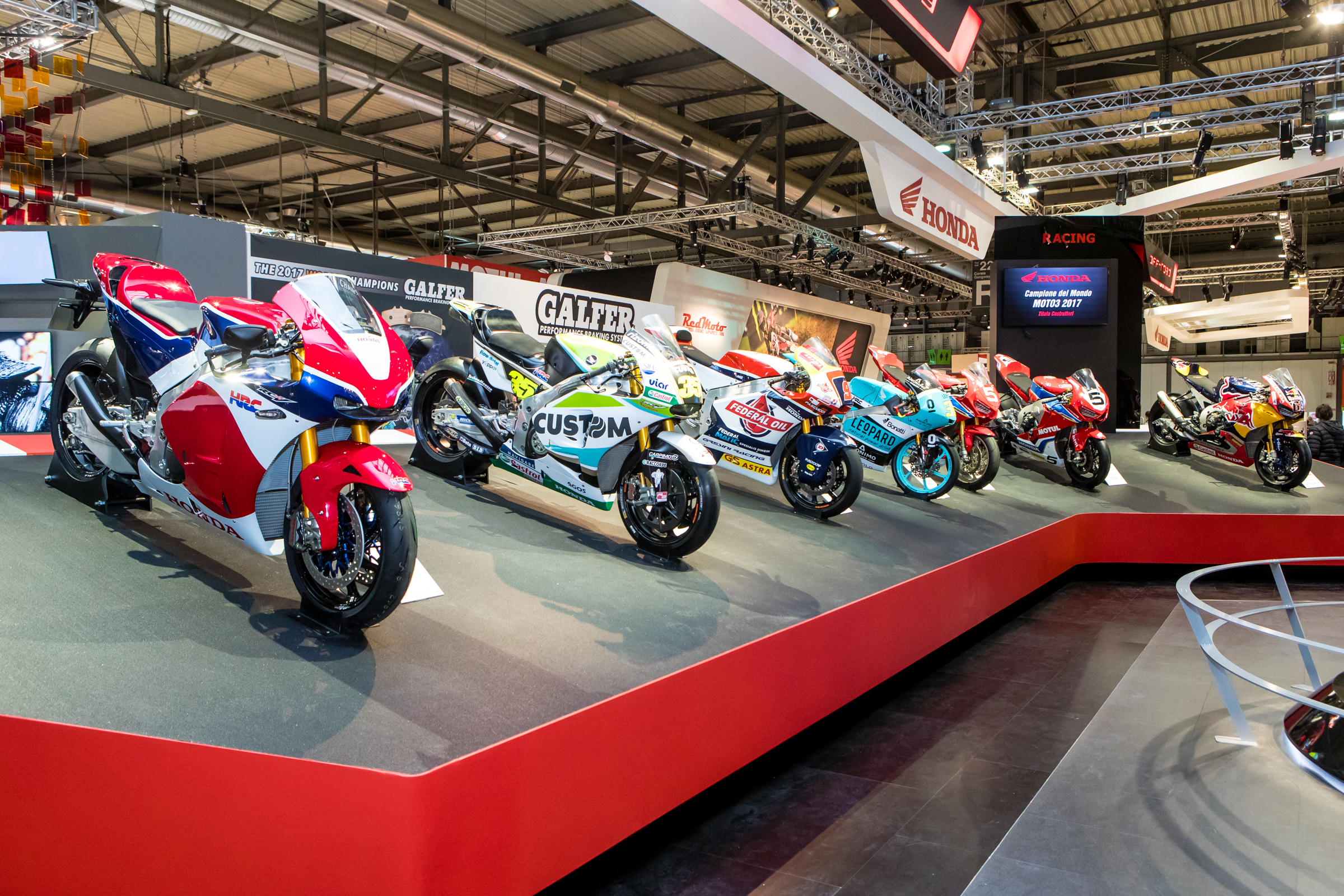 Honda showed off their range of road race machines. From the RC213 limited production bike, a MotoGP race bike, Moto2, Moto3, World Superbike, US Superbike, an Endurance road race bike from Japan and more.
