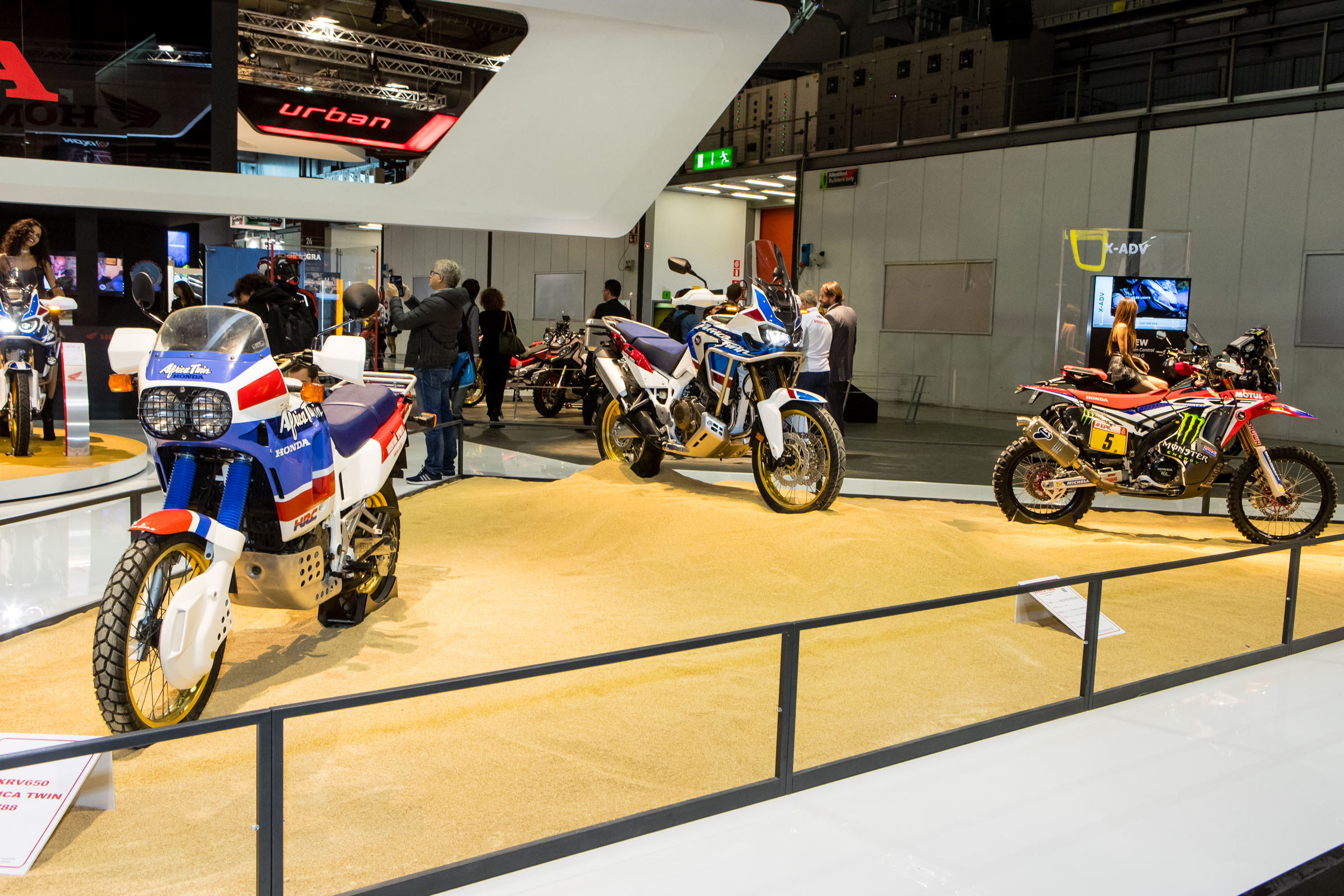 Adventure and Rally are taking over. Here Honda showed off their original Africa Twin, their newest Twin, and the Rally 450 race bike that they take technology from.