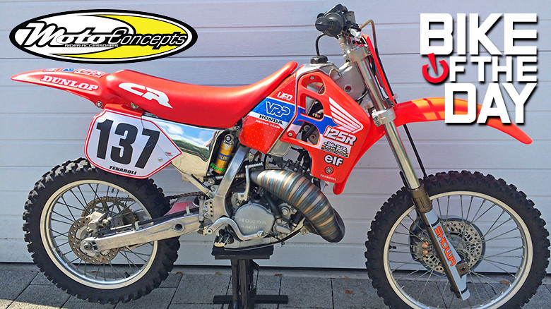 Bike of the Day! 10-30-15  My rebuilt racebike of the past: 1989 VRP Mugen Honda CR 125  Italian VRP aluminium chassis, swingarm,subframe/airbox, gas tank  Mugen engine