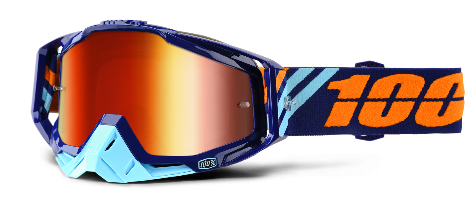 Raceraft Calculus Navy Goggle - Mirror Red Lens - 100percent - Motocross Pictures - Vital MX