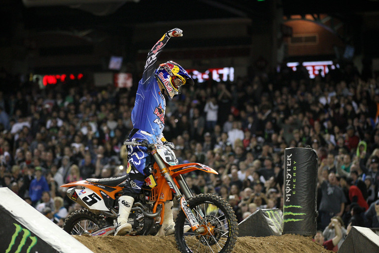Ryan Dungey celebrates are his (and KTM's) big win. It was a very happy Red Bull/KTM crew after the race.