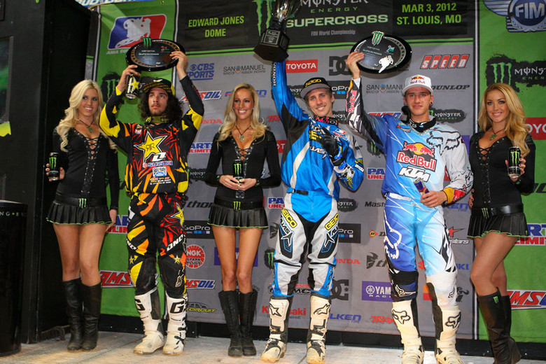 Justin Barcia, Ken Roczen, and Blake Wharton made up the Supercross Lites podium.