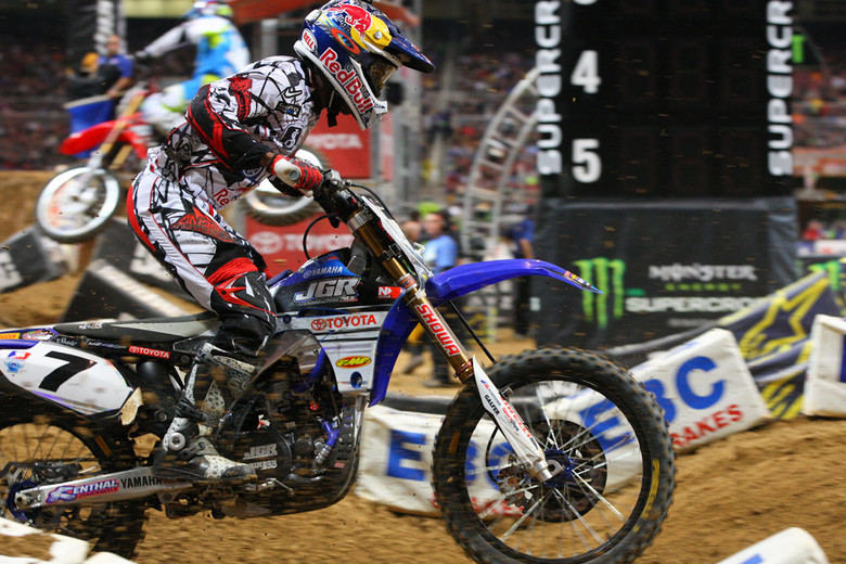 James Stewart had to work his way through the entire pack for a fifth-place finish after a first lap crash.