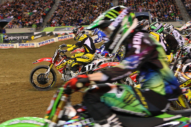 Eli Tomac (GEICO Honda) and Dean Wilson (Monster Energy Pro Circuit Kawasaki) both had good jumps out of the gate.