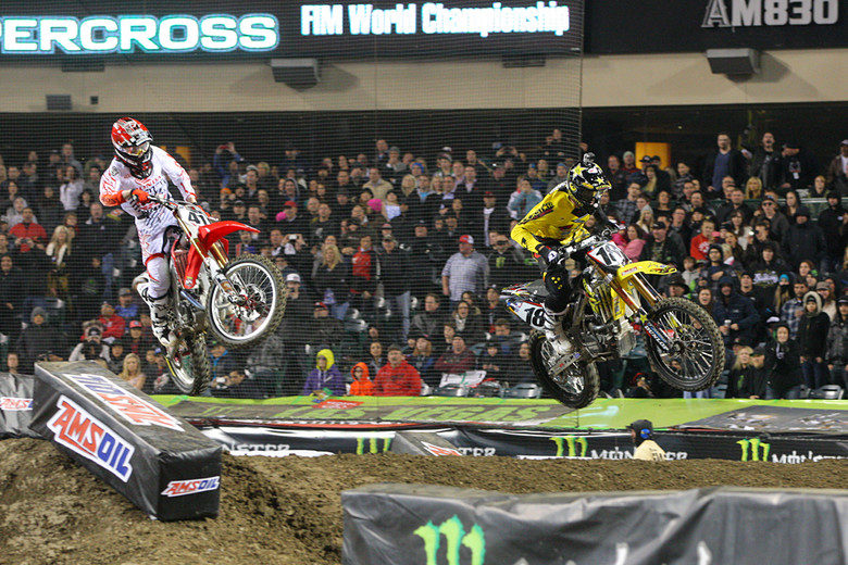 The race-long battle between Trey Canard and Davi Millsaps had the crowd on their feet for all 20 laps.
