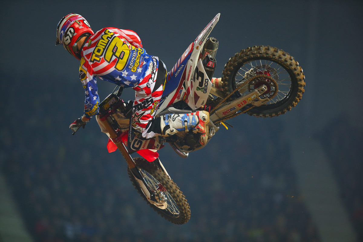 Yep, Eli Tomac was on fire here...and yeah, as some eagle-eyed readers noted after viewing yesterday's Photo Blast, he's still aboard his '14 Honda.