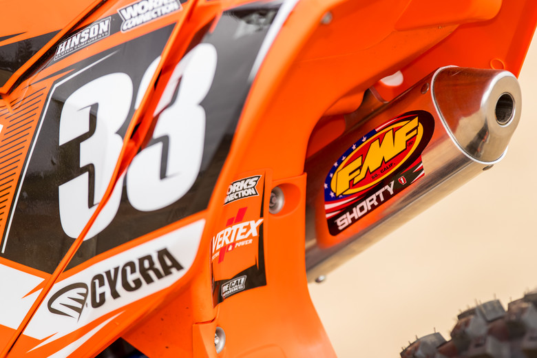 FMF's shorty silencer adds to the hit, making the 150 SX feel more like a 125. Keeping things much more exciting...
