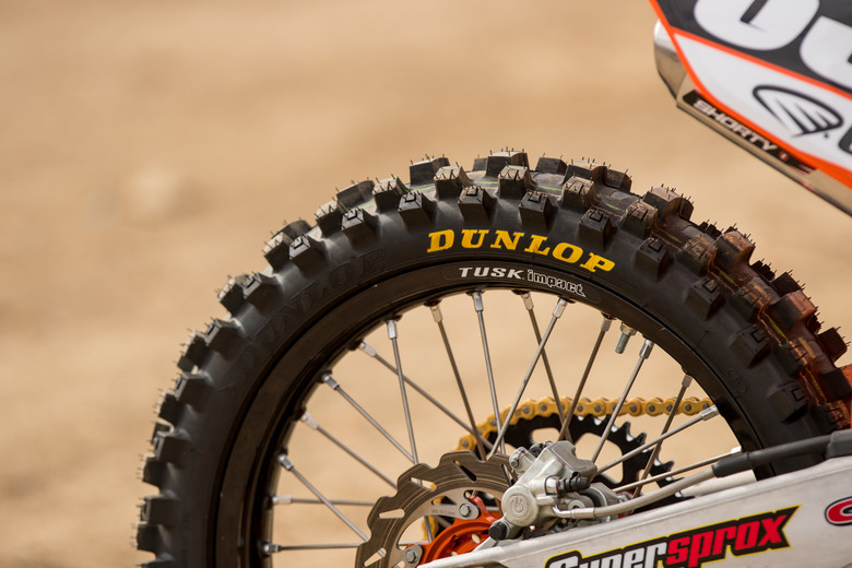 Dunlop's MX3S were mounted up front and rear for grip across a range of terrains.