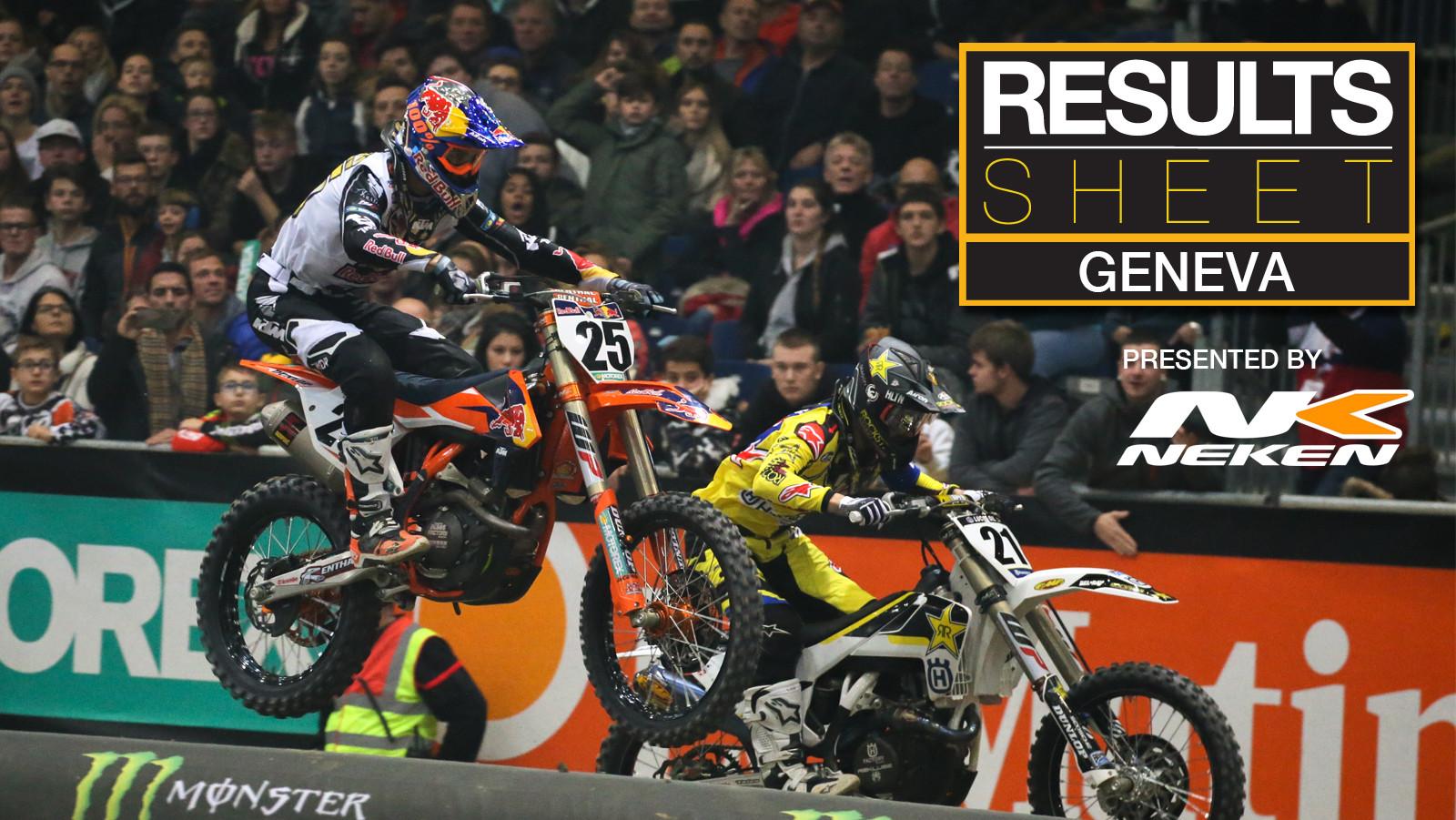 Results Sheet: Supercross Geneva Night One