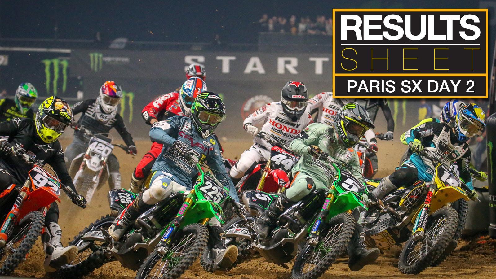 Results Sheet: Sunday Paris Supercross