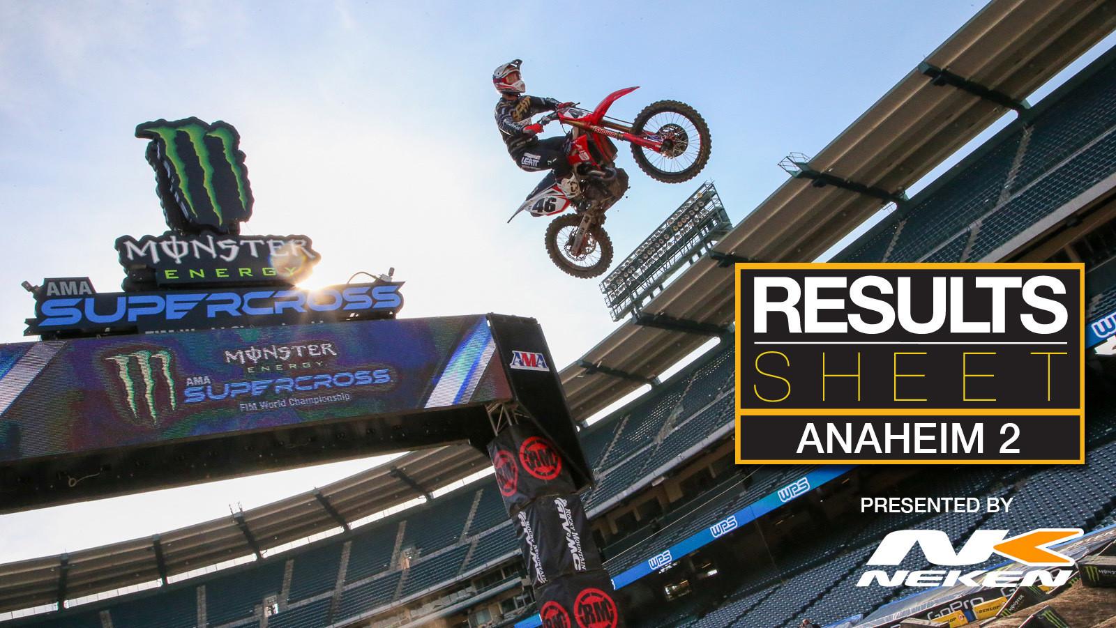 Results Sheet: 2020 Anaheim 2 Supercross
