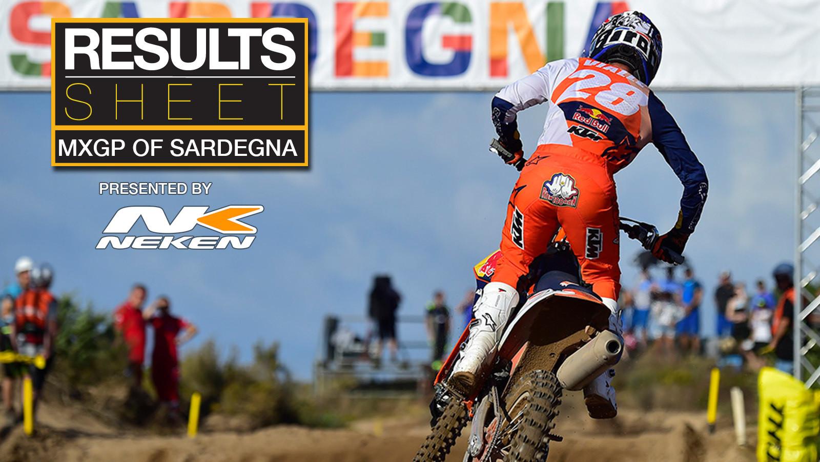 Results Sheet: 2021 MXGP of Sardegna