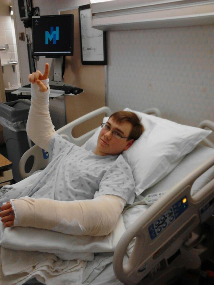 Man In Hospital Bed Broken Arm