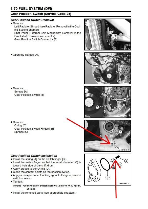 2012 KX250F Gear Pos  Switch - Tech Help/Race Shop - Motocross