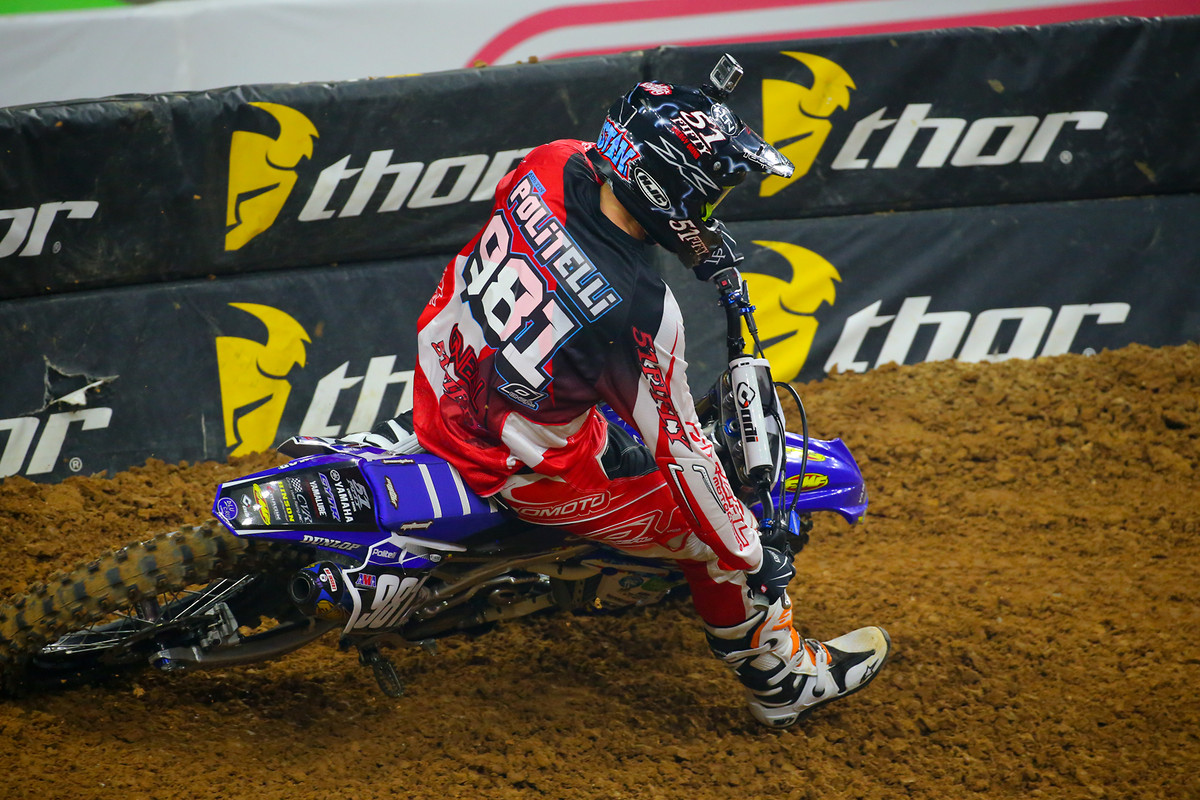 The first 250 heat went to Austin Politelli after Shane McElrath crashed out of the lead, and Justin Hill and Josh Hansen tangled.