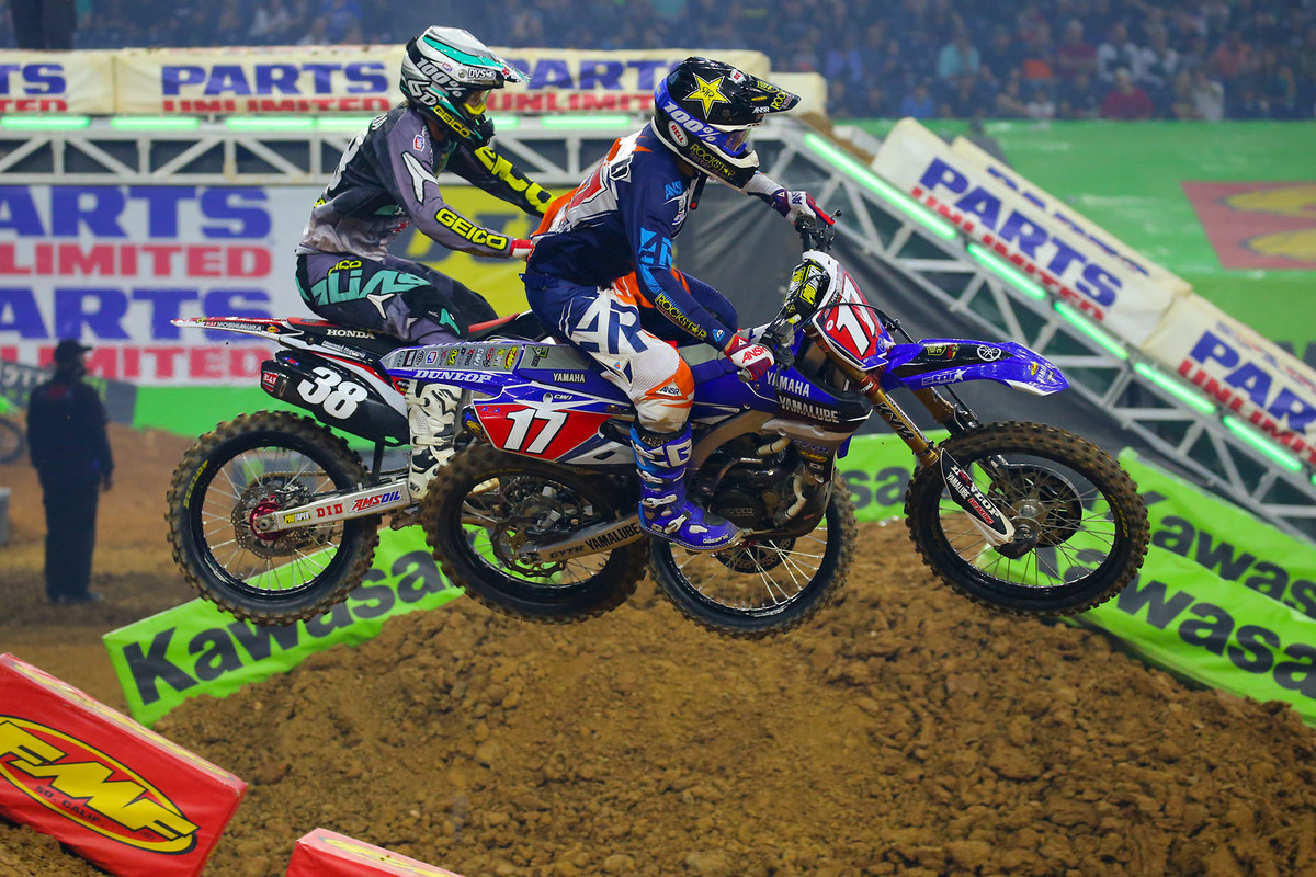 Heat two in the 250 class was another one that seemingly no one wanted to win, with Malcolm Stewart going down, and then Zach Osborne landing on his bike (which had cartwheeled into the next lane.) After that, Cooper Webb reeled in Matt Bisceglia for the win.