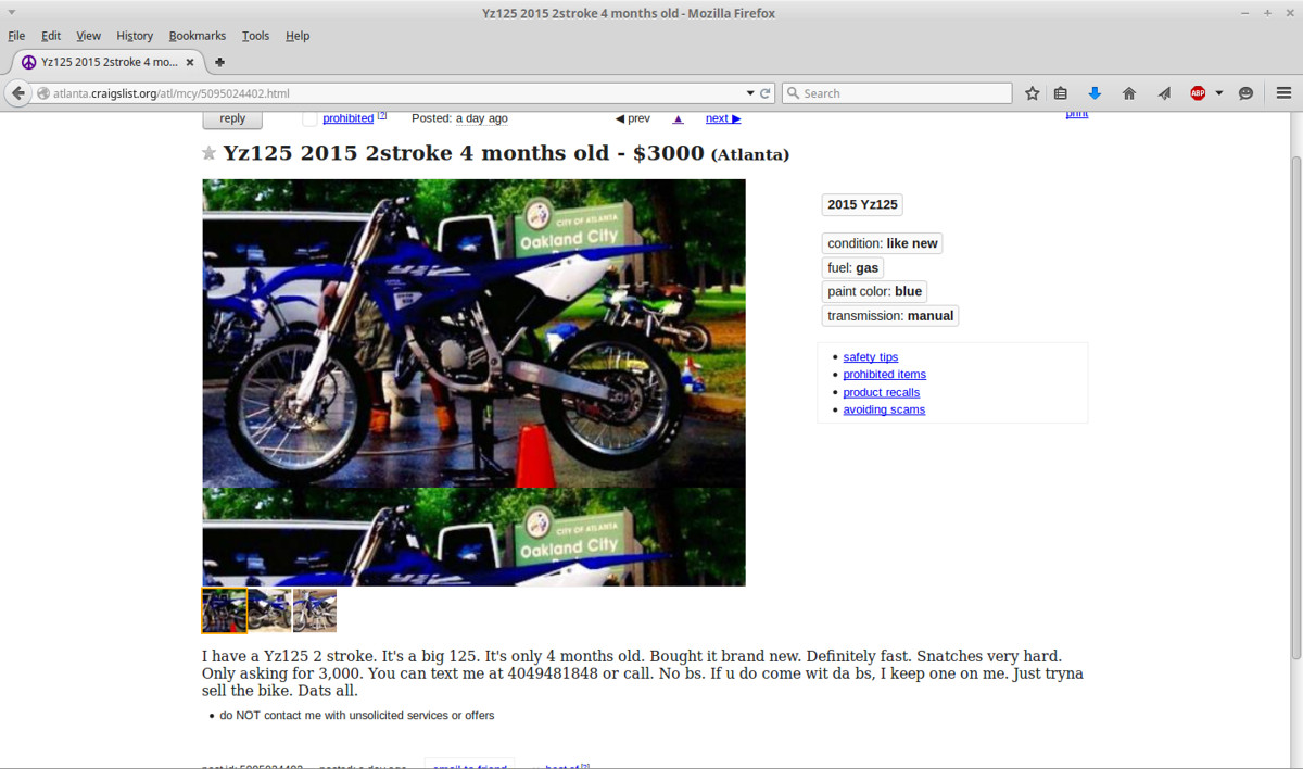Four Month Old 2015 Yz125 On Craigslist For 3000 Moto Related
