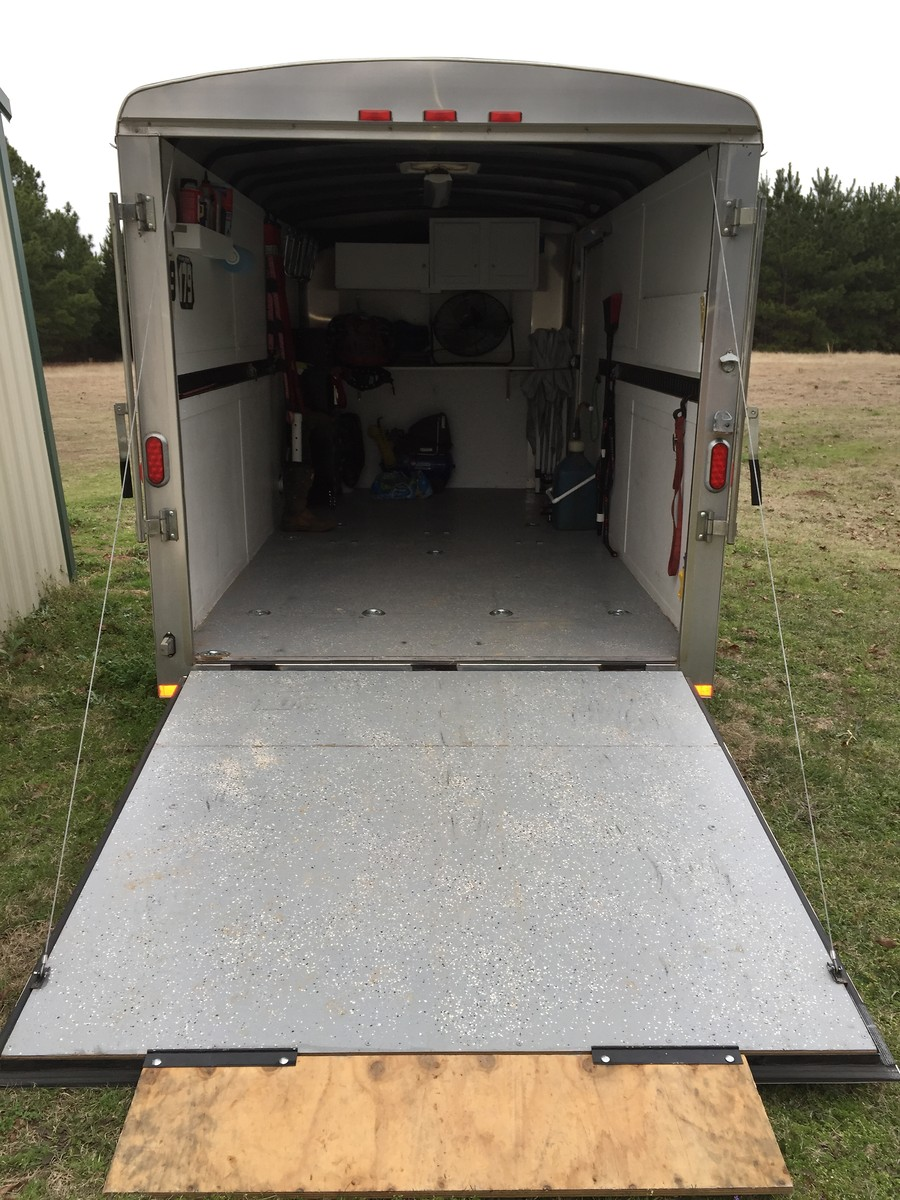 enclosed trailer flooring ideas. Here\u0027s A Few Pics Of My Setup. 14\u0027, Carries 3 Bikes And All Gear/spares With Room To Spare. There Is Also Fold Down Shelf That Super Handy Out Enclosed Trailer Flooring Ideas