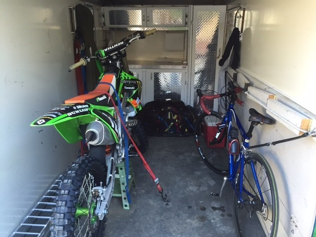 This Is My 6 X 12 Cargo Trailer I Had The Floor And Roof Rhino Lined Built Bench Cabinets Up Front Its Set To Haul 3 Bikes