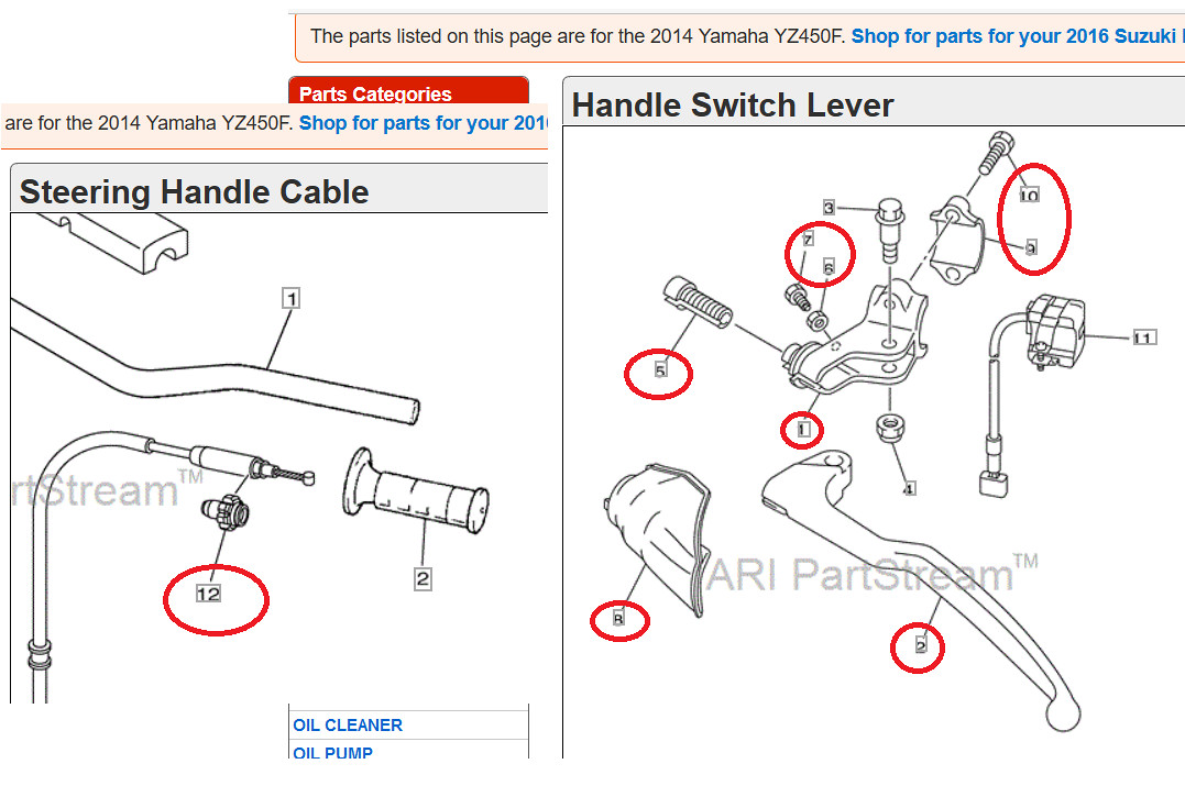 2015 yz clutch perch and lever tech helprace shop motocross dont forget to grab the stop screw and nut s 7 and 6 on this diagram you need all of the parts i circled in red to switch to the new style sciox Image collections