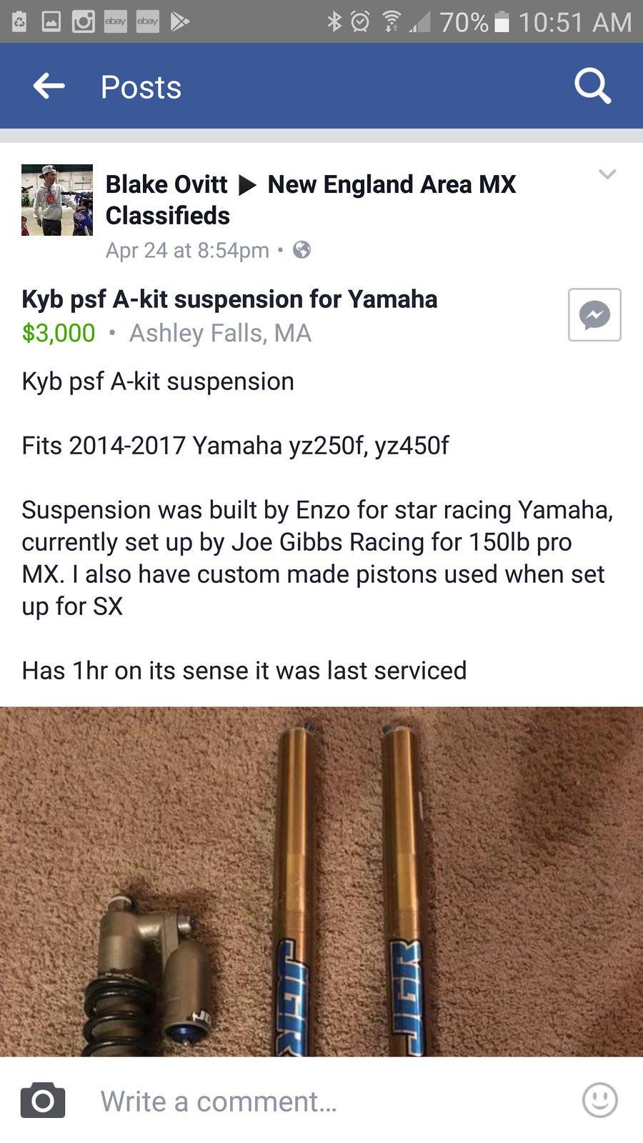 ISO: 2016 YZ450F Suspension - For Sale/Bazaar - Motocross Forums