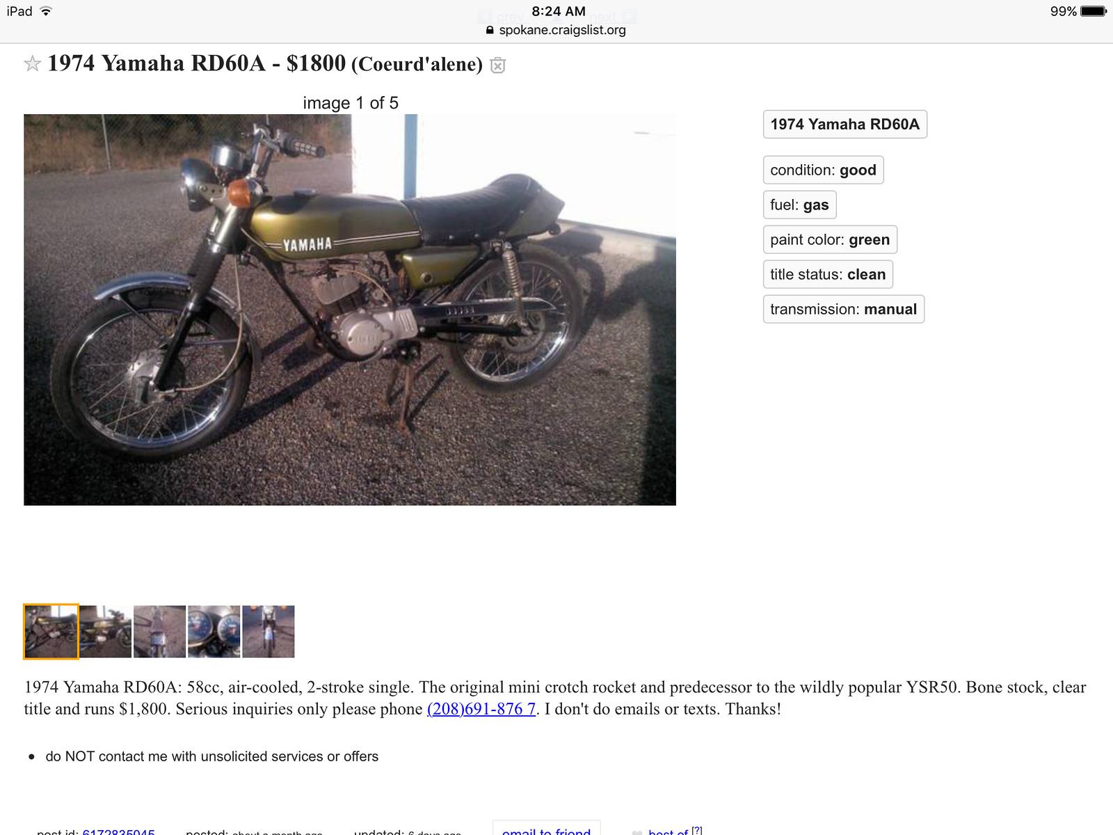 Yamaha Rz500 For Sale Craigslist