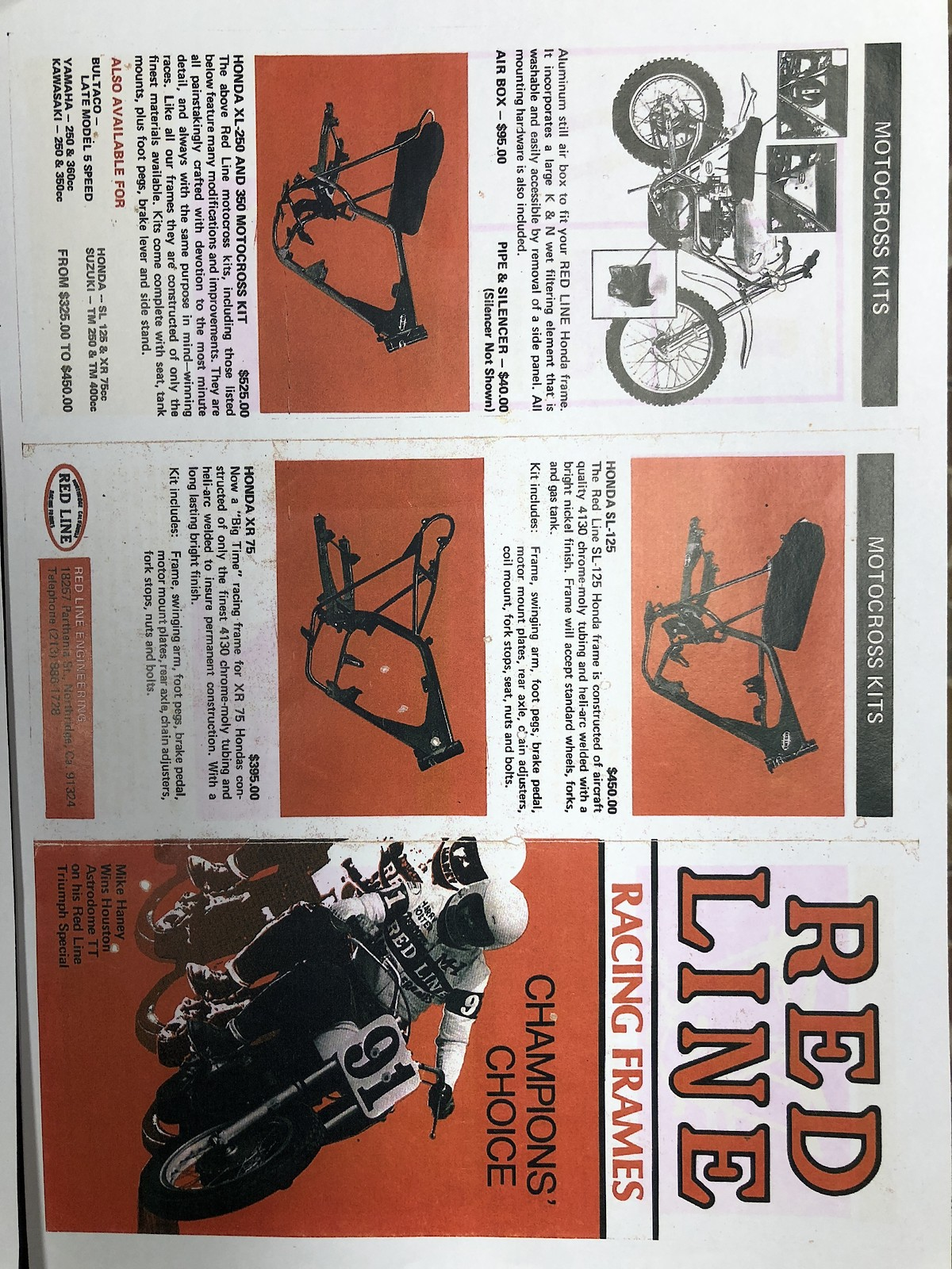 Looking for info: Early 70\'s Redline MOTORCYCLE frame - sn 008 - Old ...