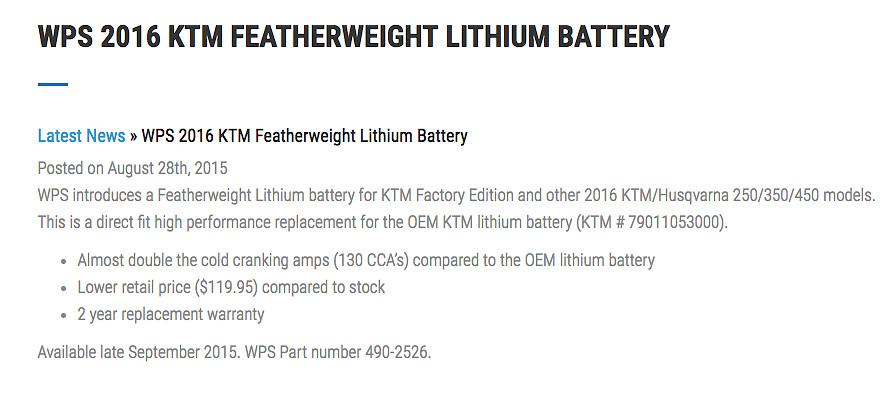 KTM / Husky LiPo Battery PROBLEMS - Tech Help/Race Shop