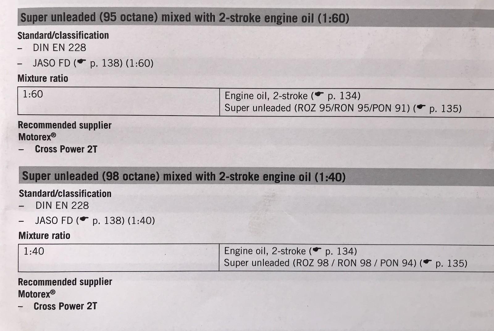 KTM 150sx 2018 fuel/oil ratio??? - Tech Help/Race Shop - Motocross