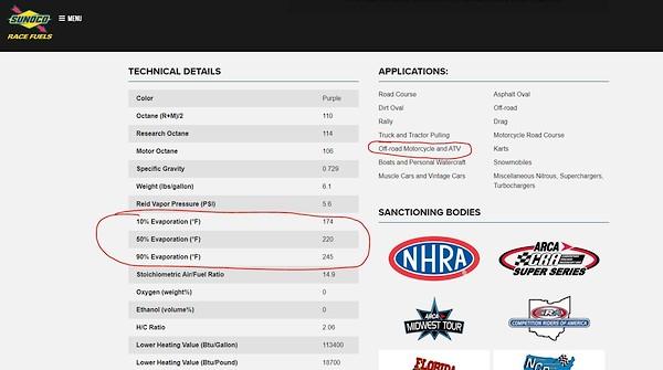 Sunoco vs VP - Tech Help/Race Shop - Motocross Forums