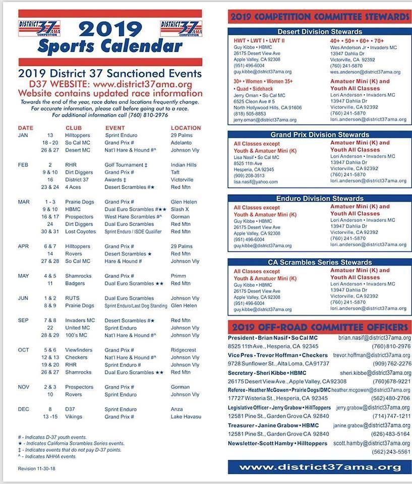 2019 big 6 schedule? - Off-Road and Adventure - Motocross