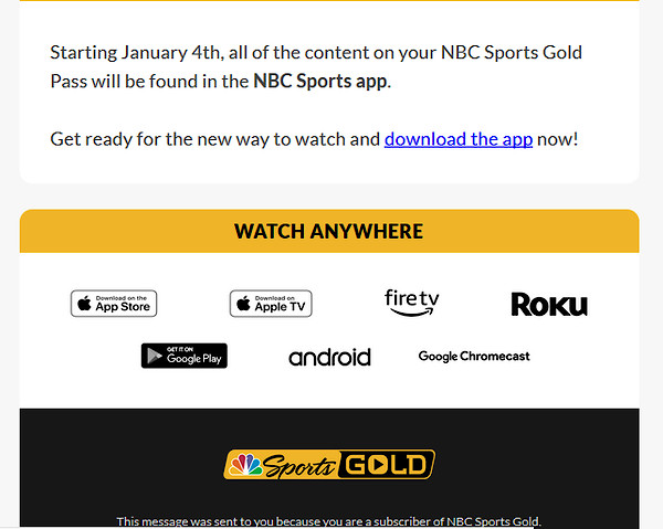 NBC SPORTS APP New Way to Watch Your Sport starting JAN 4 - Moto