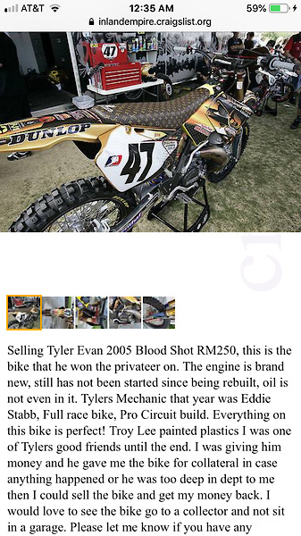 Tyler Evans bike up for sale on Craigslist - Moto-Related