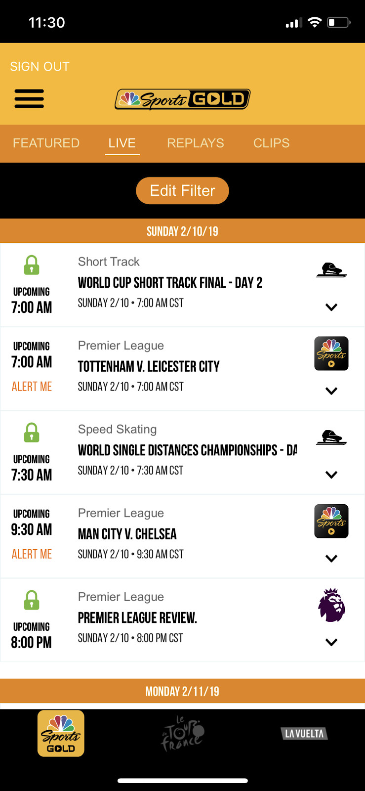 Qualifying/main race not showing in my nbc gold app today