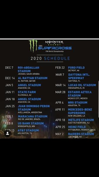Motocross Schedule 2020 2020 Supercross ???   Moto Related   Motocross Forums / Message