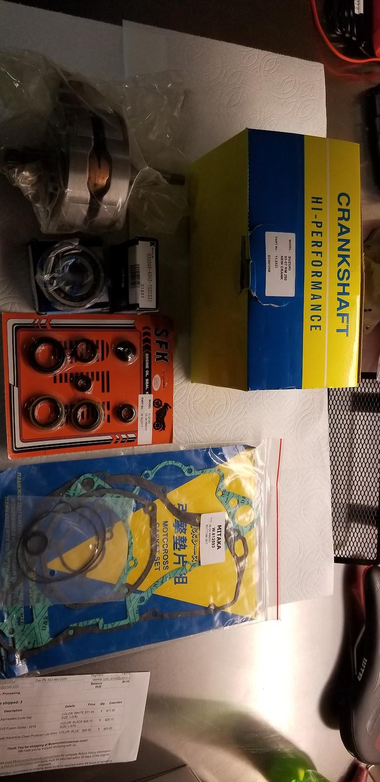 03-07 RM250 Crank Set with SKF seals, Koyo main bearings