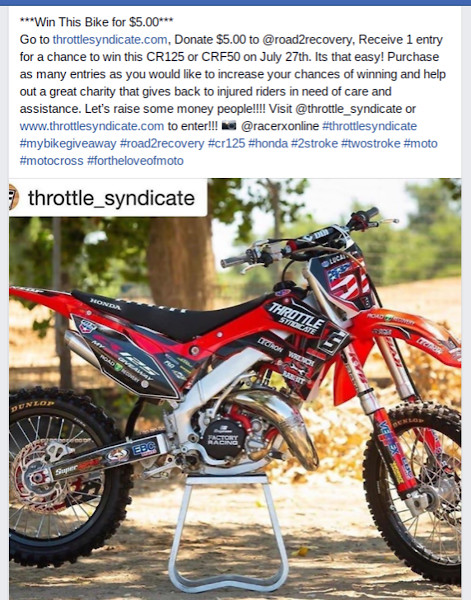 Throttle Syndicate/Road 2 Recovery CR 125 giveaway - Moto-Related