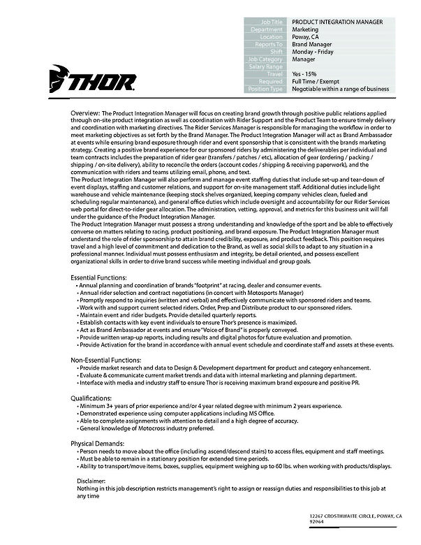 THOR is Hiring a Product Integration Manager