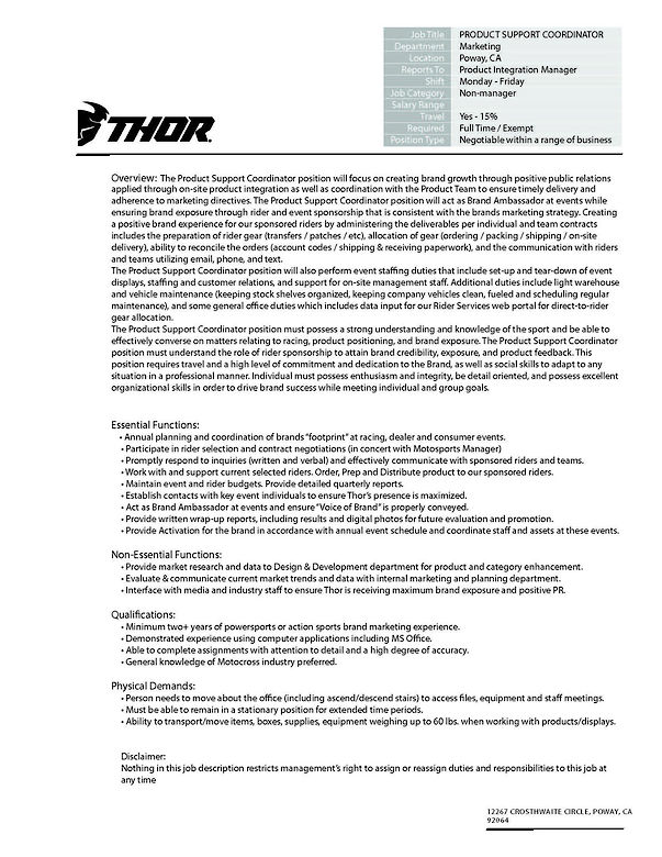 THOR is Hiring Product Support Coordinator