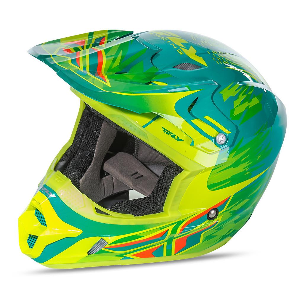 Fly Racing Kinetic Pro Helmets Andrew Short Teal/Hi-Vis Yellow