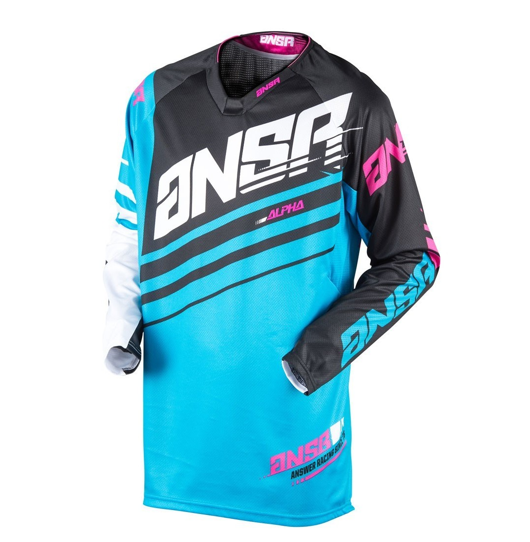 Answer Racing Alpha Jersey Answer Racing Alpha Cyan and White