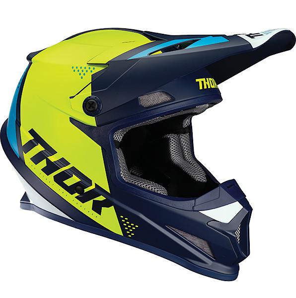 Choose Size White//Aqua Thor MX Motocross Sector Blade Helmet