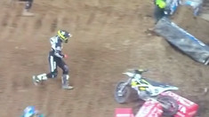 CRASH: Dean Wilson and his Magic Husqvarna get Separated in Oakland