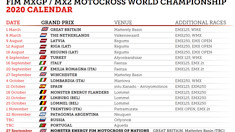 Latest 2020 MXGP Race Calendar Update