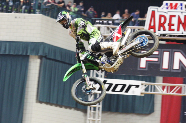 Points leader Bowers runs the red plate in Texas (Photo: AMA Arenacross Series)